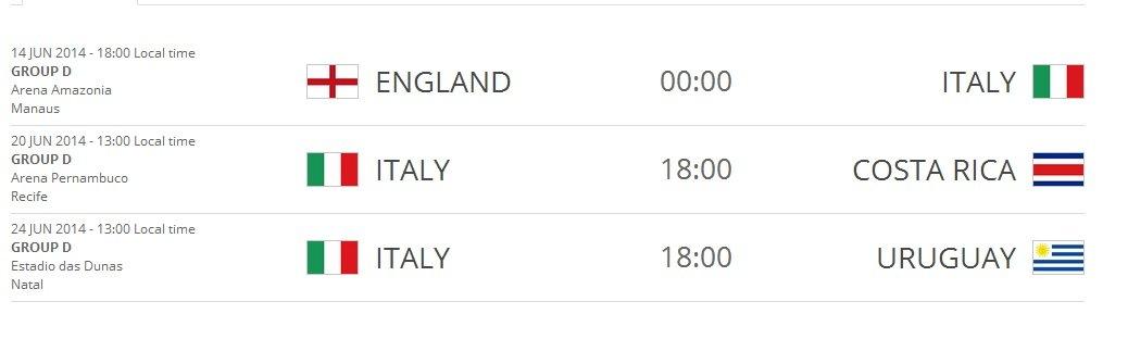 Calendario Partite Italia.Mondiali Brasile 2014 Il Calendario Delle Partite Dell Italia