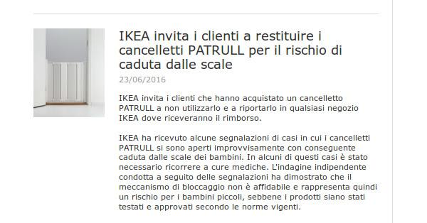Ikea ritira tre cancelletti rischio caduta per i bambini for Cancelletti per bambini ikea