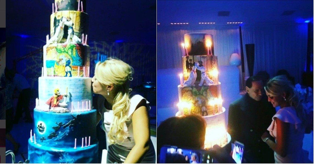 Il compleanno di Francesca Pascale: il regalo di Berlusconi è una torta tema disney