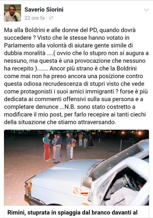 saverio Siorini post su Facebook