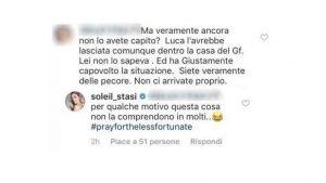 Gf Vip: la verità di Soleil Sorgè su Luca Onestini