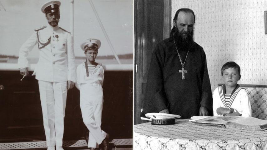 romanov, lo zarievic alexiei con Nicola II e Rasputin