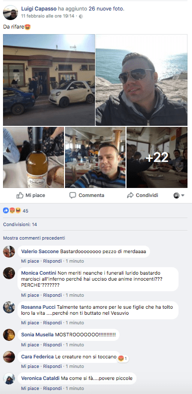 Foto dal profilo Facebook di Luigi Capasso, il carabiniere