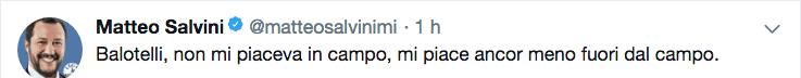 Il tweet di Matteo Salvini contro Balotelli