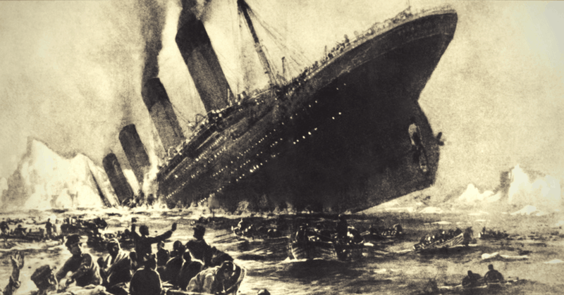Illustrazione d'epoca dell'affondo del Titanic