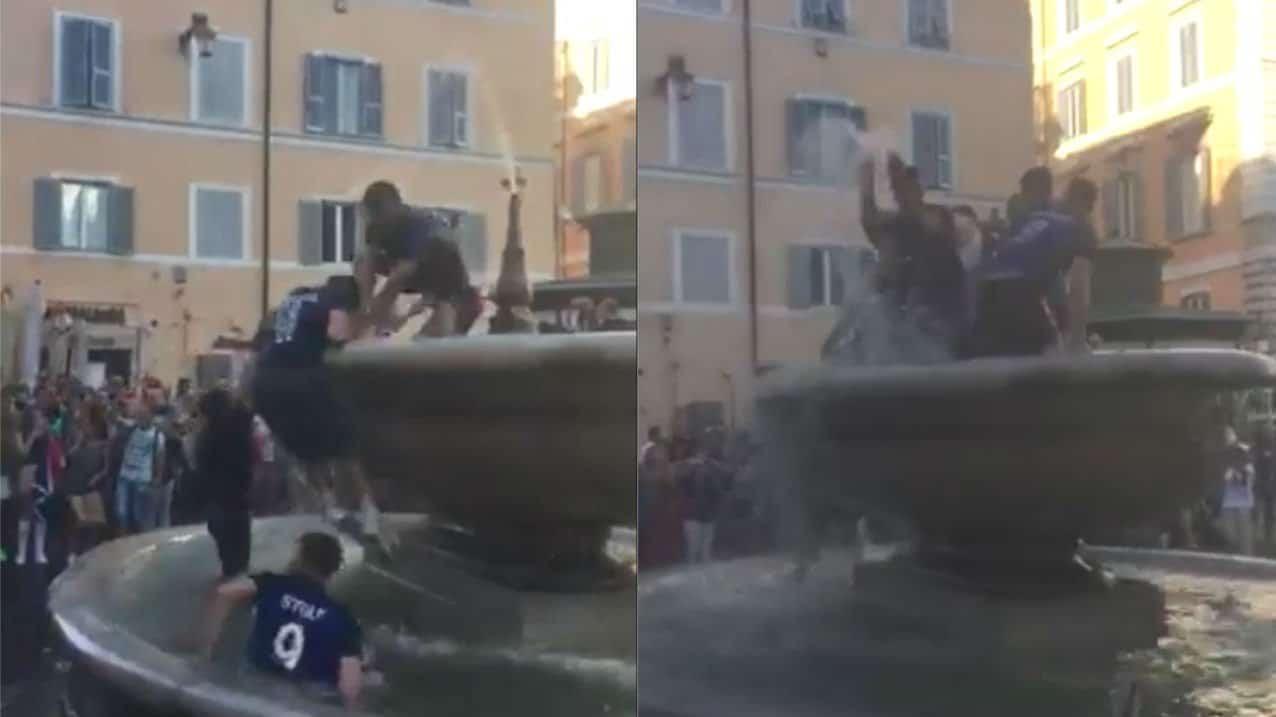 La Francia festeggia la vittoria Mondiale nella fonata di Campo de' Fiori a Roma