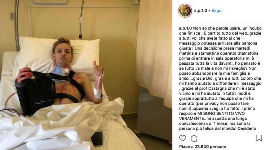 Salvatore ha messo un post su Instagram dopo l'operazione