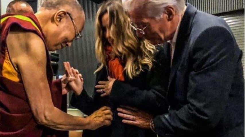 Richard Gere con la moglie e il Dalai Lama