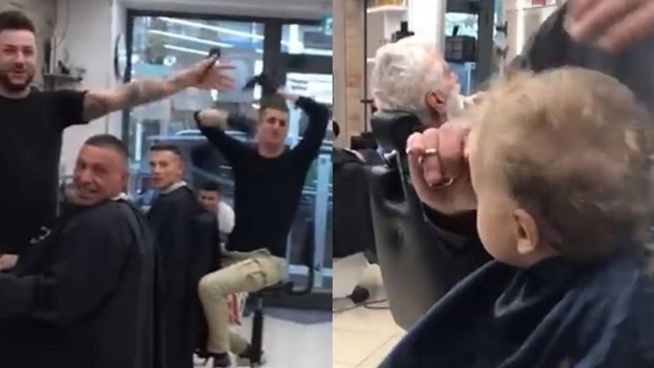 bimbo piange dal barbiere, lo staff lo consola cantando