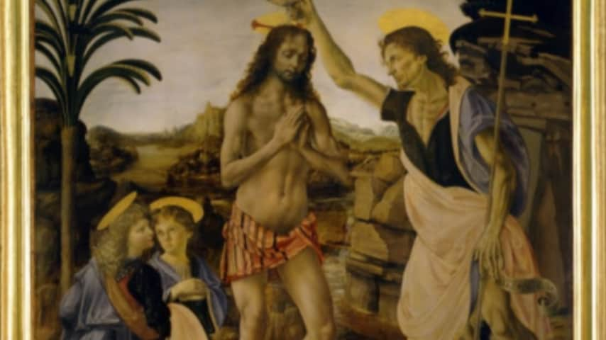 Battesimo del Cristo di Leonardo da Vinci. Immagine: Google Arts & Culture