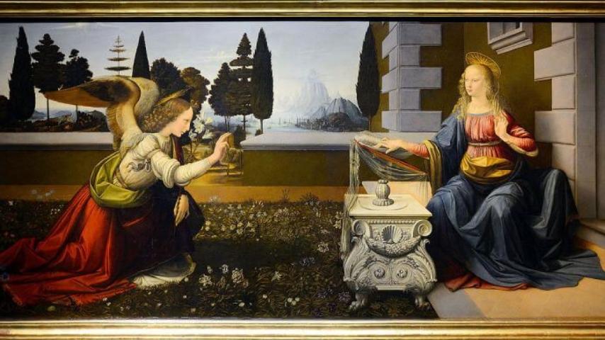 L'Annunciazione di Leonardo da Vinci. Immagine: Galleria degli Uffizi