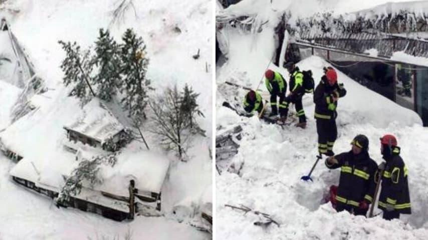 A sinistra le immagini aree dell'hotel dopo la slavina. A destra i soccorritori a lavoro ANSA(1)
