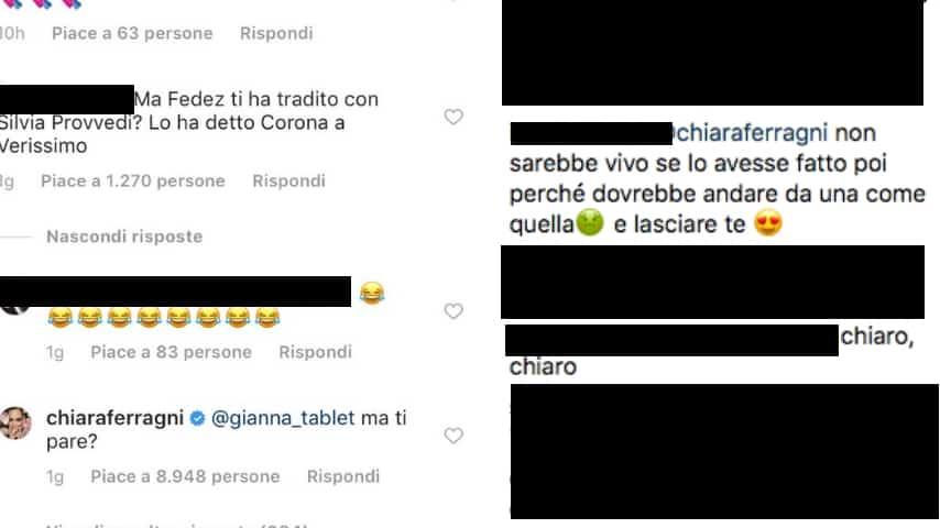 Chiara Ferragni risponde a Corona