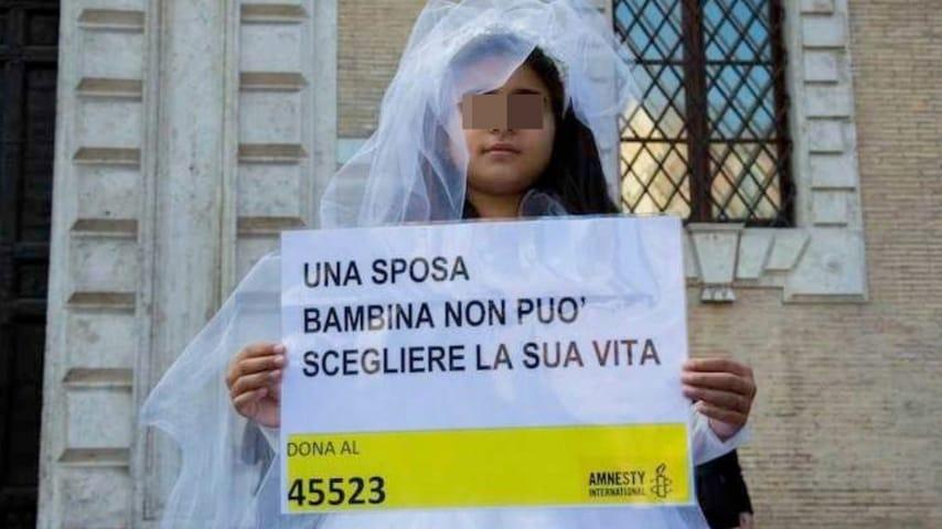 La campanga di Amnesty International contro il fenomeno delle spose bambine ANSA