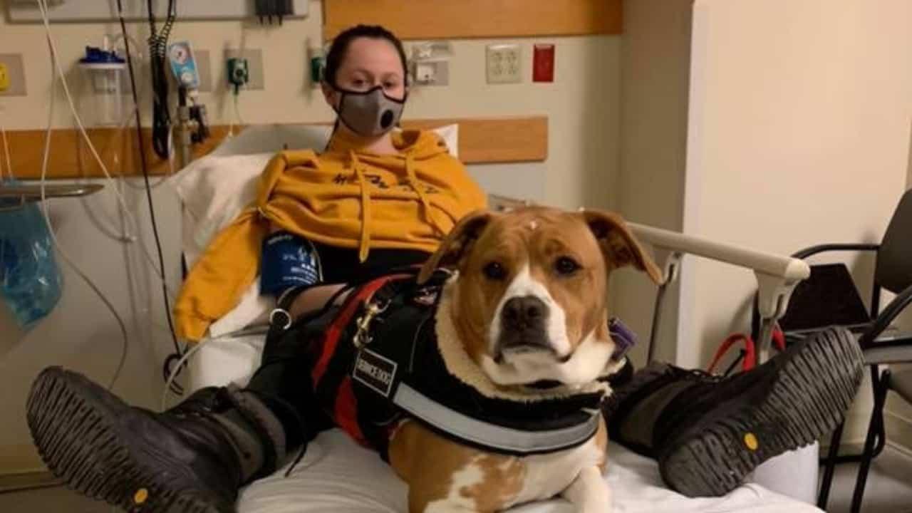 Martina in ospedale con il suo cane.