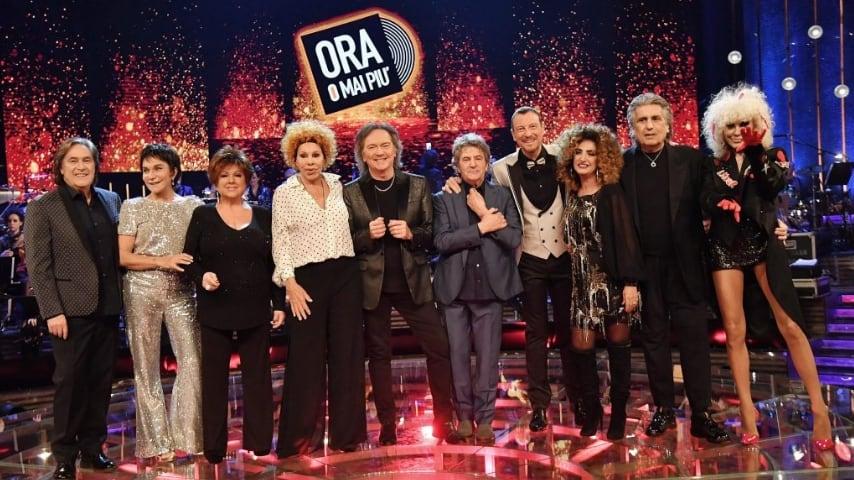 Donatella Rettore, Orietta Berti e Ornella Vanoni con il resto del cast di Ora o mai più