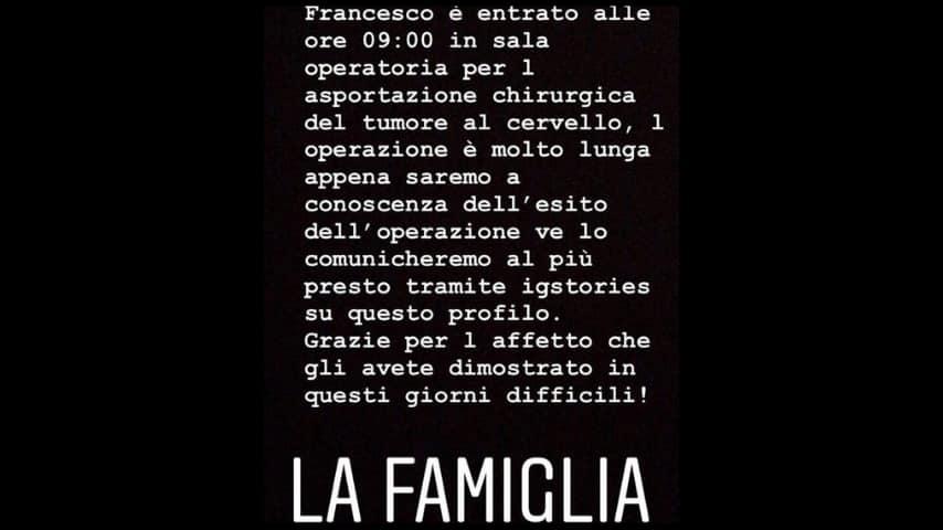 Francesco Chiofalo sta subendo l'intervento: il messaggio della famiglia