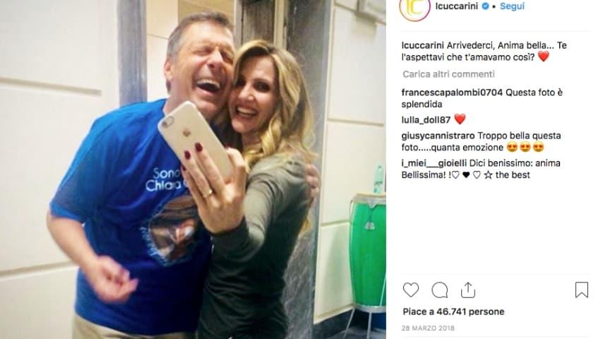 Lorella Cuccarini ricorda l'amico Frizzi su Instagram a 2 giorni dalla sua scomparsa nel 2018