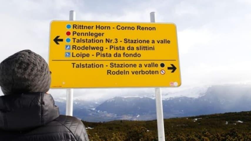 Il cartello in tedesco. Credits Ansa