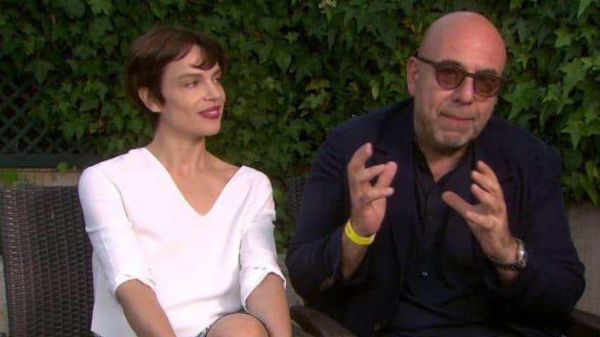 La coppia Virzì Ramazzotti durante un'intervista
