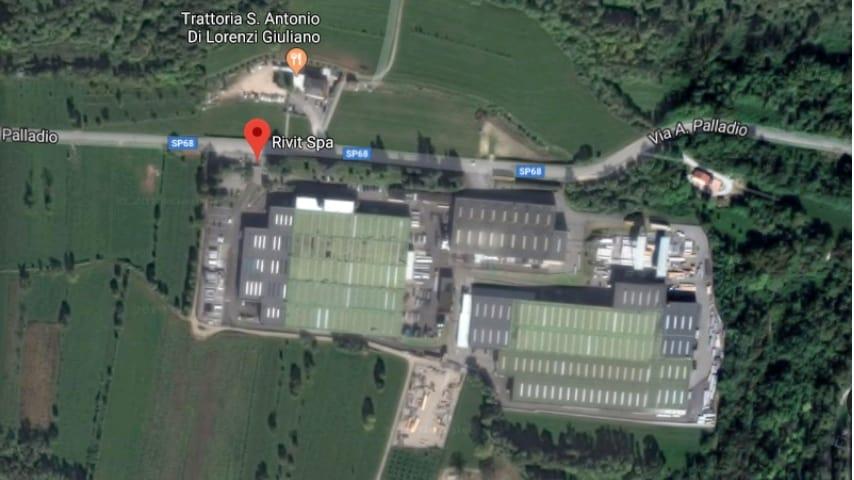 Vista satellitare dell'azienda Rivit Spa, sita in Via Palladio, 129, Caltrano (VI)