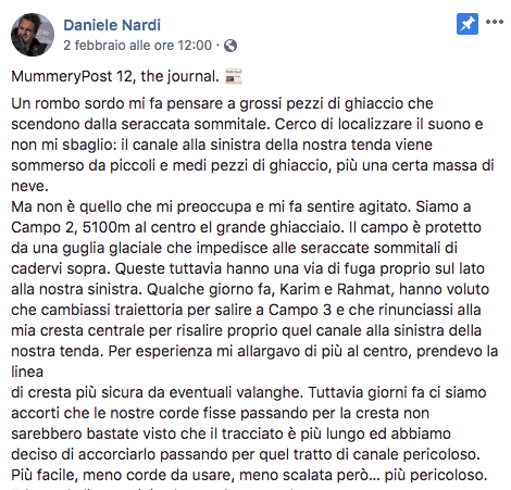 Nessuna notizia di Daniele Nardi: stava scalando il Nanga Parbat