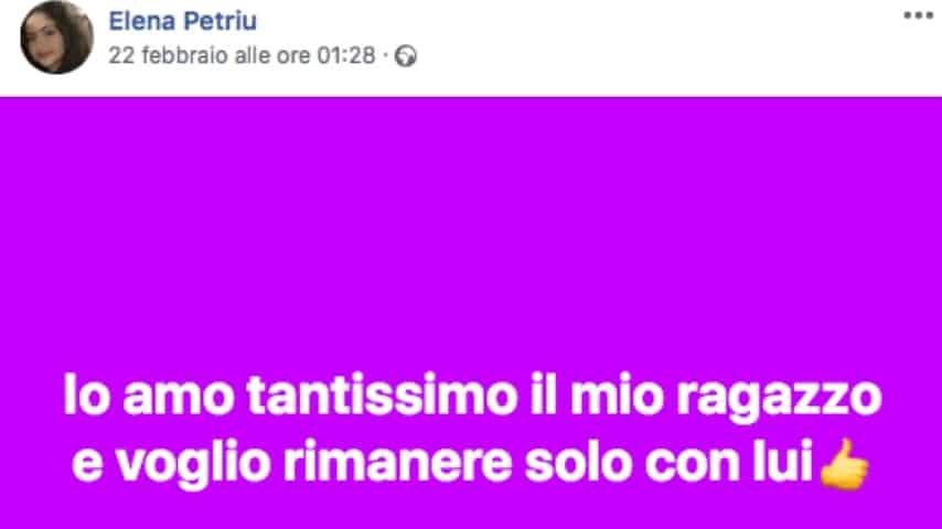 Un post di Elena Petriu. Fonte: Elena Petriu/Facebook