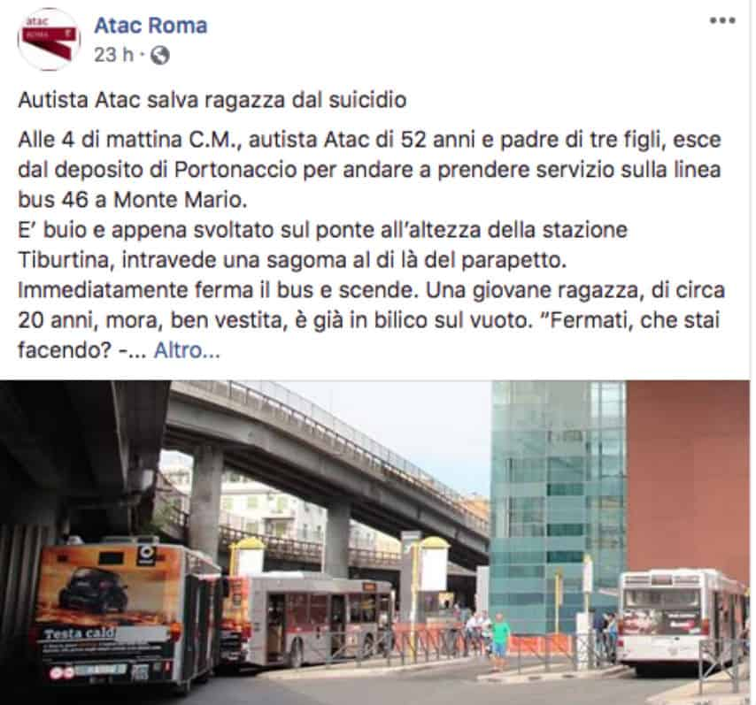 Autista dell'autobus salva ragazza che stava tentando il suicidio