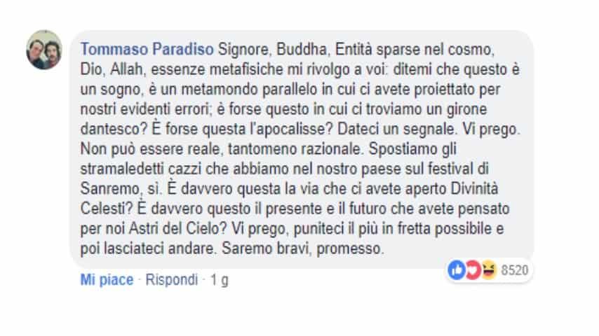 Tommaso Paradiso critica Di Maio: il ministro pensa troppo al Festival