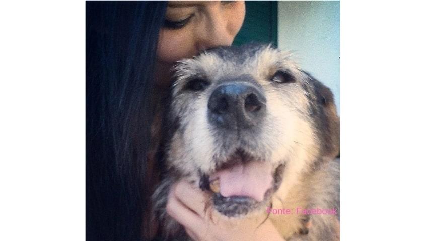 ragazza che abbraccia il suo cane anziano