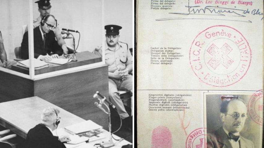 Adolf Eichmann durante il processo e il passaporto falso. Credits: United States Holocaust Memorial Museum e Fundacion Memoria del Holcausto via Wikipedia