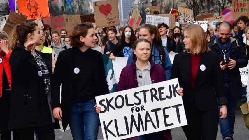 Greta Thunberg guida la protesta a Bruxelles (Foto Instagram)
