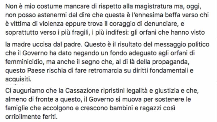 La conclusione del duro post di Mara Carfagna sulla sentenza. Fonte: Mara Carfagna/Facebook