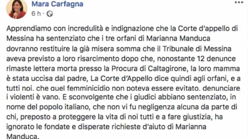 Il duro post di Mara Carfagna sulla sentenza. Fonte: Mara Carfagna/Facebook