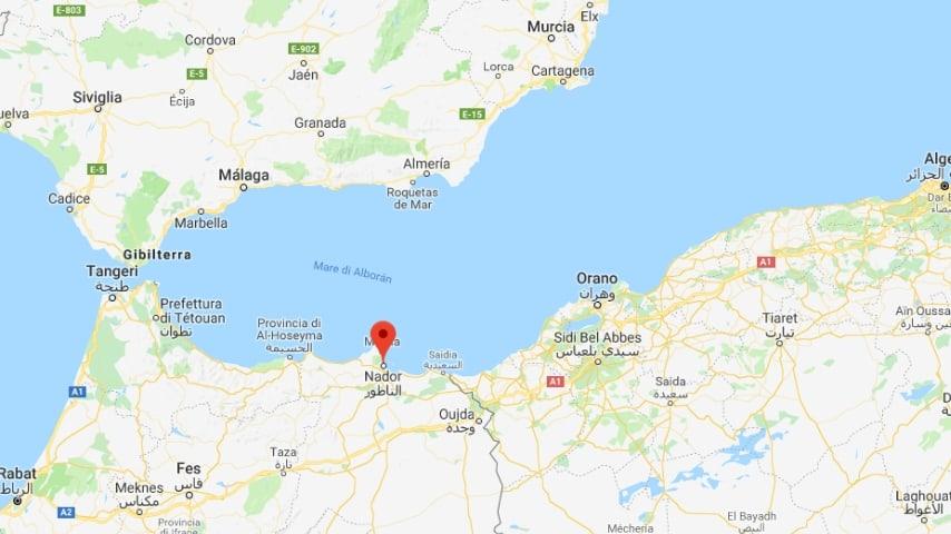 Il nafragio è avvenuto al largo delle coste di Nador, in Marocco. A soccorrerli la Marina marocchina. Credits: Google Maps