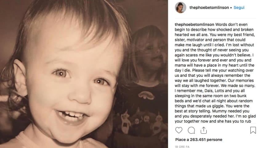 Il post dell'altra sorella di Félicité. Fonte: Phoebe Tomlinson/Instagram