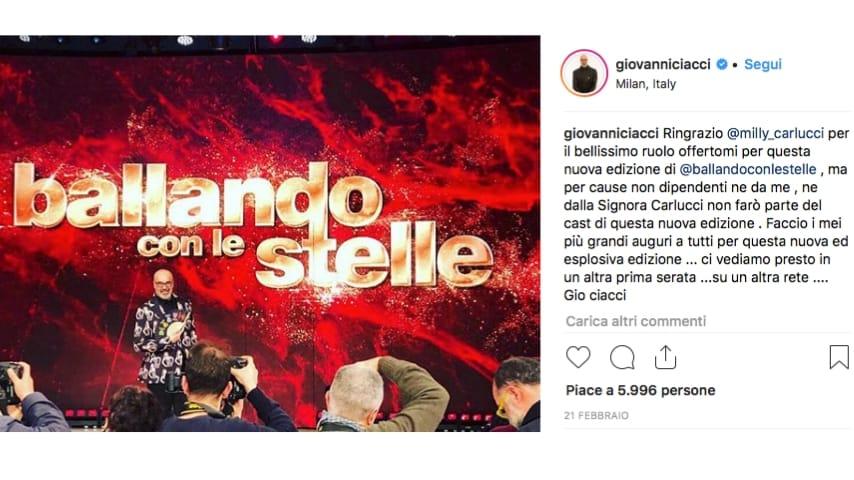 Il post di Ciacci su Ballando con le stelle. Fonte: Giovanni Ciacci/Instagram