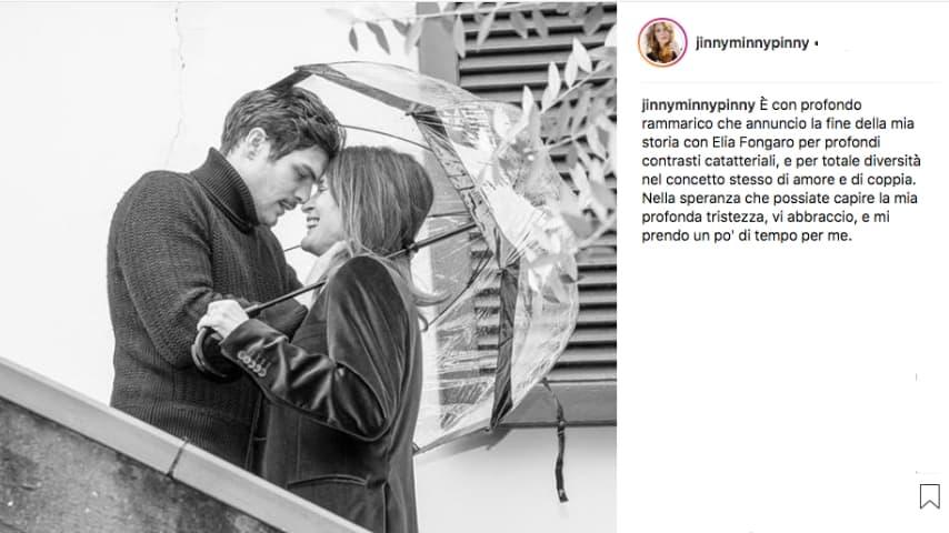 Il post su Instagram di Jane Alexander che annunciava la fine della sua storia