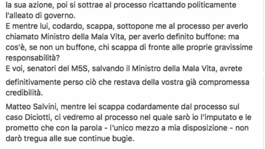 La conclusione del post di Saviano su Facebook. Fonte: Roberto Saviano/Facebook