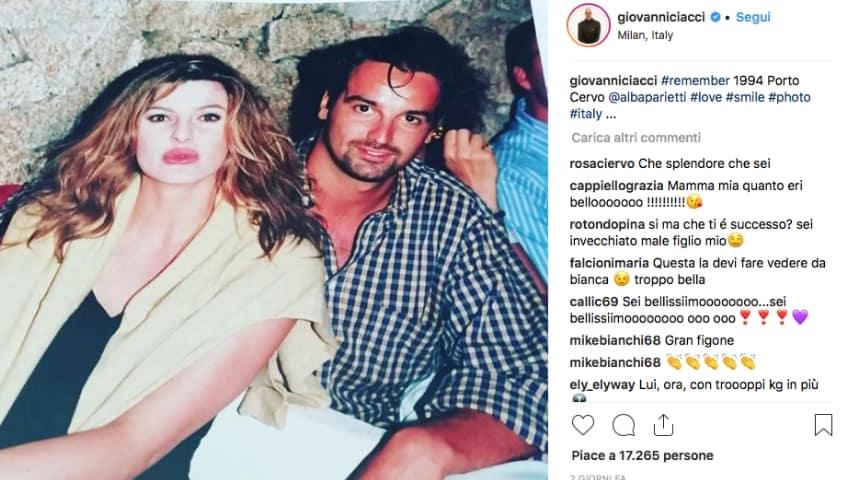 La foto che immortala i giovanissimi Giovanni Ciacci, 23 anni, e Alba Parietti, 33 anni. Fonte: Giovanni Ciacci/Instagram
