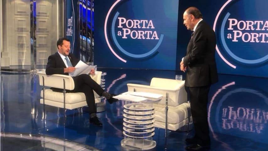 Matteo Salvini ospite della puntata del 20 marzo di Porta a Porta. Fonte: Matteo Salvini/Facebook