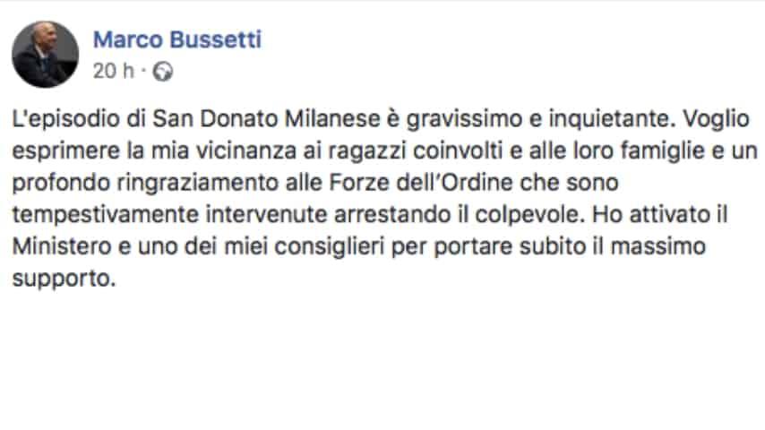 Il ministro dell'Istruzione, Marco Bussetti, sulla vicenda di San Donato Milanese. Fonte: Marco Bussetti/Facebook