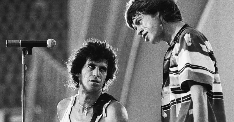 Il chitarrista Keith Richards e Mick Jagger in concerto