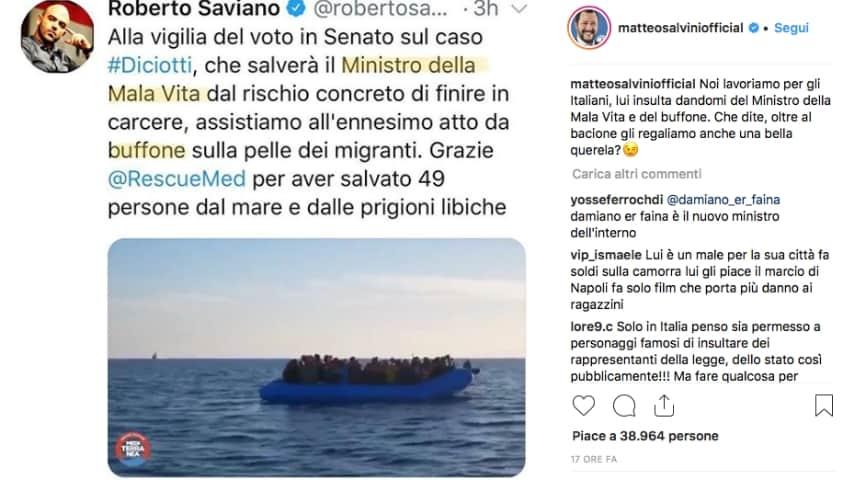 Un post di Saviano ripubblicato da Matteo Salvini. Fonte: Matteo Salvini/Instagram