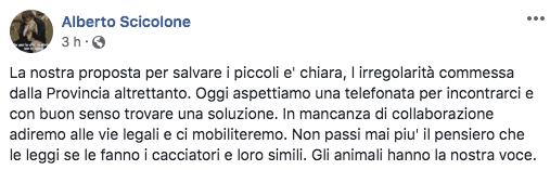 Il post di Alberto Scicolole su Facebook
