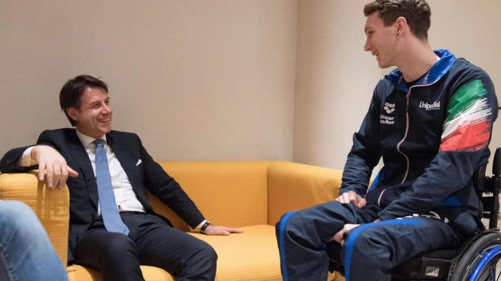 Giuseppe Conte incontra Manuel Bortuzzo