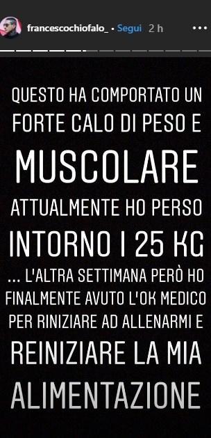 Una delle storie di Instagram di Francesco Chiofalo