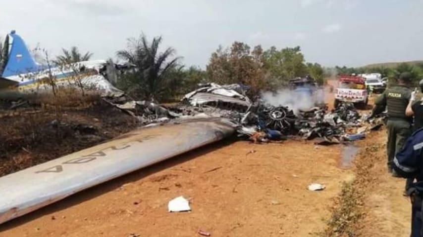 L'aereo precipitato in Colombia. Foto: Efe