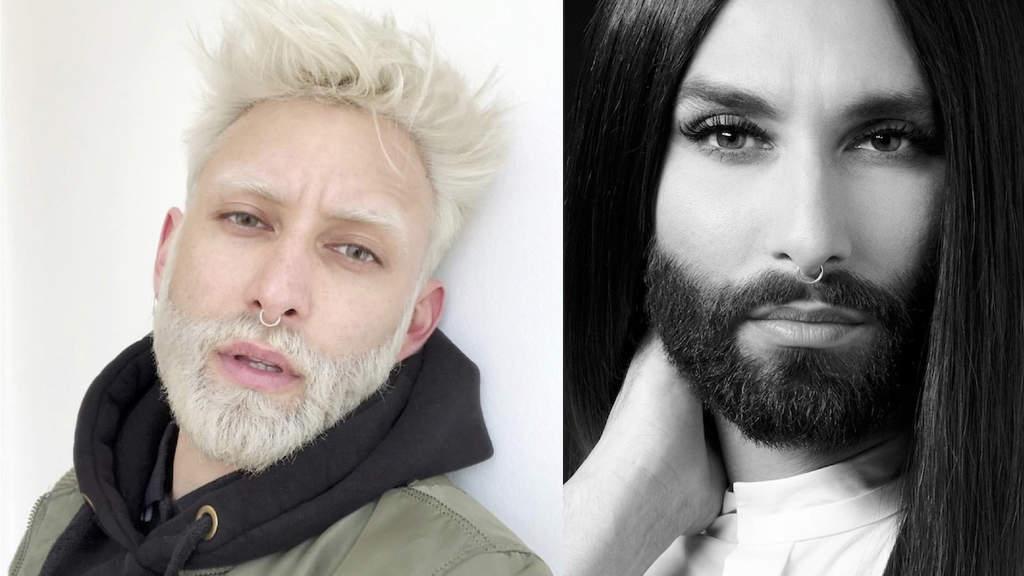 Conchita Wurst in due foto con look diversi