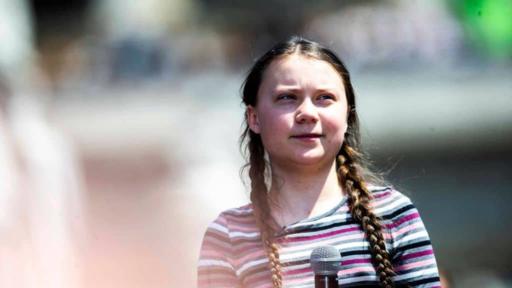 Greta Thunberg in primo piano
